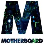 "Vice Motherboard logo. This logo is the capital letter M with the background filled in with various circuits and computer components, with the colors including black, dark blues, and neon green. The word ""MOTHERBOARD"" also is printed in similar fashion in smaller text below the letter M."