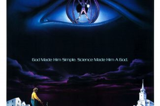 Poster for The Lawnmower Man, depicting a man pushing a lawnmower in the foreground, and a man suspended in a cybernetic brace inside of a huge eyeball floating in the sky.